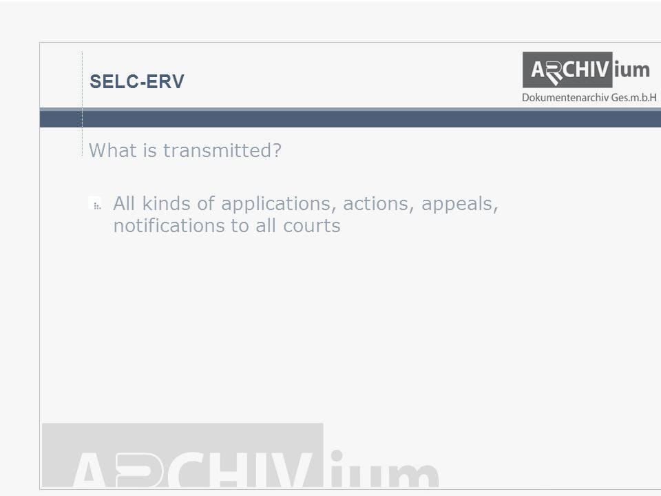 SELC-ERV What is transmitted? All kinds of applications, actions, appeals, notifications to all courts
