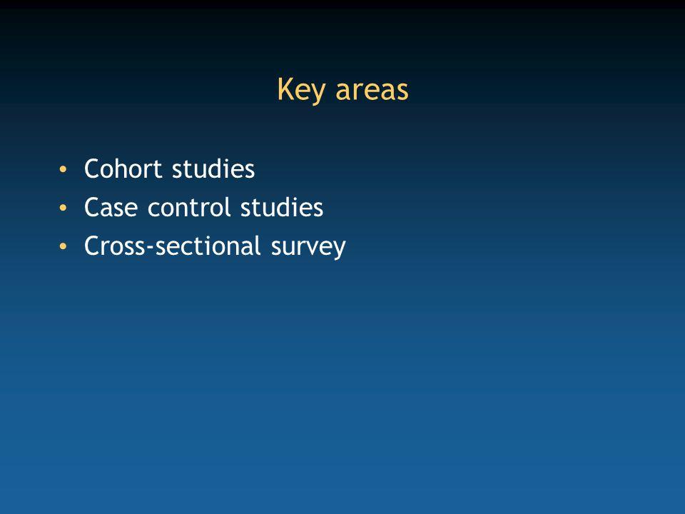 Key areas Cohort studies Case control studies Cross-sectional survey