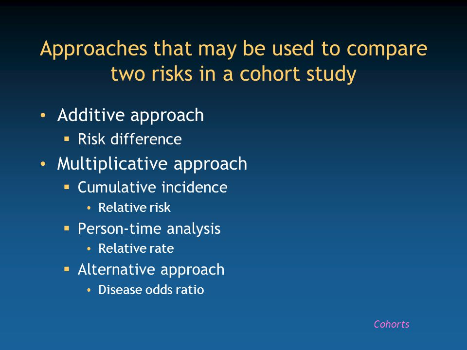 Calculation of a relative risk for a rare disease in a cohort study b # a+b; d # c+d Relative risk = a (c+d)/c(a+b) # ad/bc IllNon-illTotal Exposed a bL 1 Non-exposed c d L 0 Total a+c b+d L 1 + L 0 Cohorts