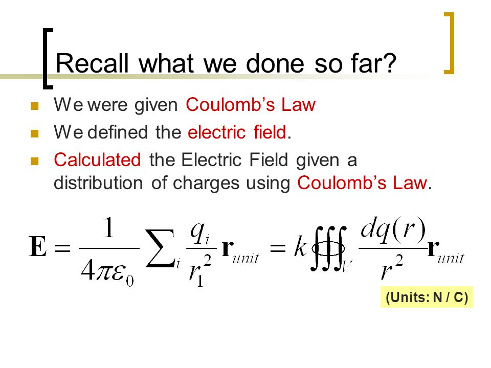 Recall what we done so far. We were given Coulomb's Law We defined the electric field.