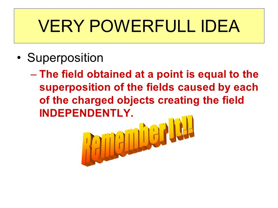 VERY POWERFULL IDEA Superposition –The field obtained at a point is equal to the superposition of the fields caused by each of the charged objects creating the field INDEPENDENTLY.