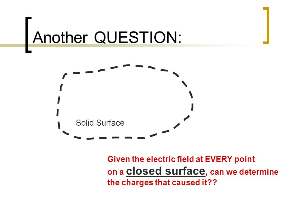 Another QUESTION: Solid Surface Given the electric field at EVERY point on a closed surface, can we determine the charges that caused it