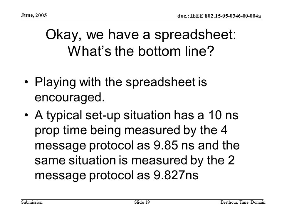 doc.: IEEE 802.15-05-0346-00-004a Submission June, 2005 Brethour, Time DomainSlide 19 Okay, we have a spreadsheet: What's the bottom line? Playing wit