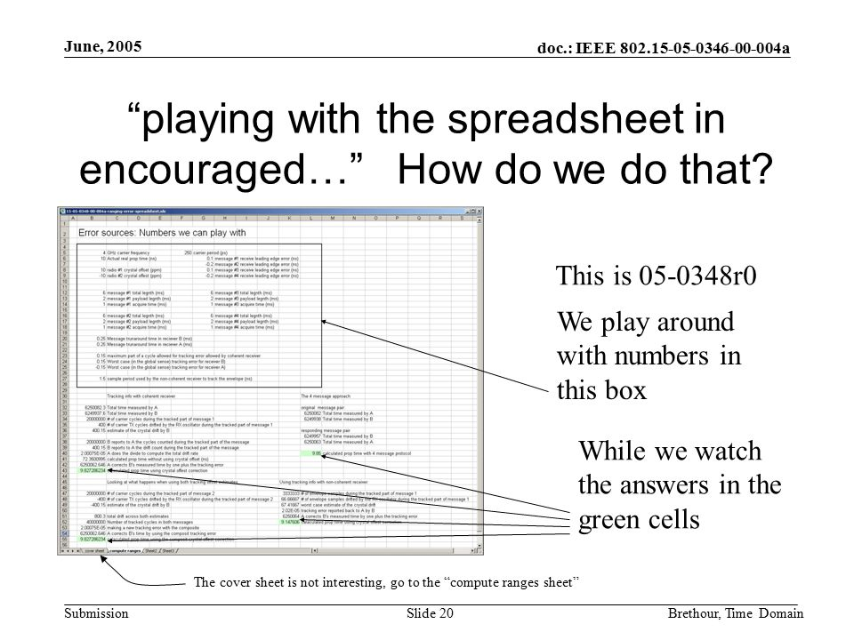 """doc.: IEEE 802.15-05-0346-00-004a Submission June, 2005 Brethour, Time DomainSlide 20 """"playing with the spreadsheet in encouraged…"""" How do we do that?"""
