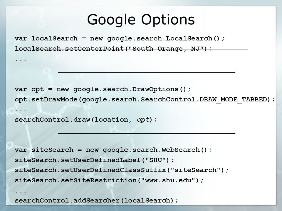 Google Options var localSearch = new google.search.LocalSearch(); localSearch.setCenterPoint( South Orange, NJ );...