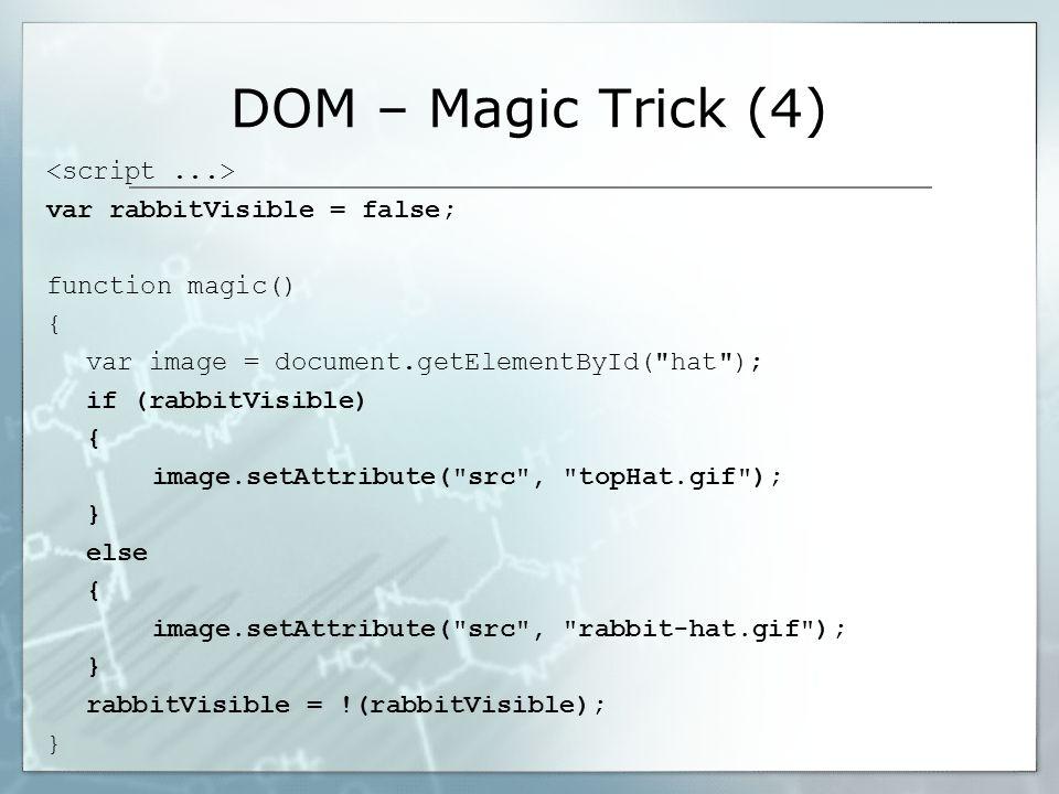 DOM – Magic Trick (4) var rabbitVisible = false; function magic() { var image = document.getElementById( hat ); if (rabbitVisible) { image.setAttribute( src , topHat.gif ); } else { image.setAttribute( src , rabbit-hat.gif ); } rabbitVisible = !(rabbitVisible); }
