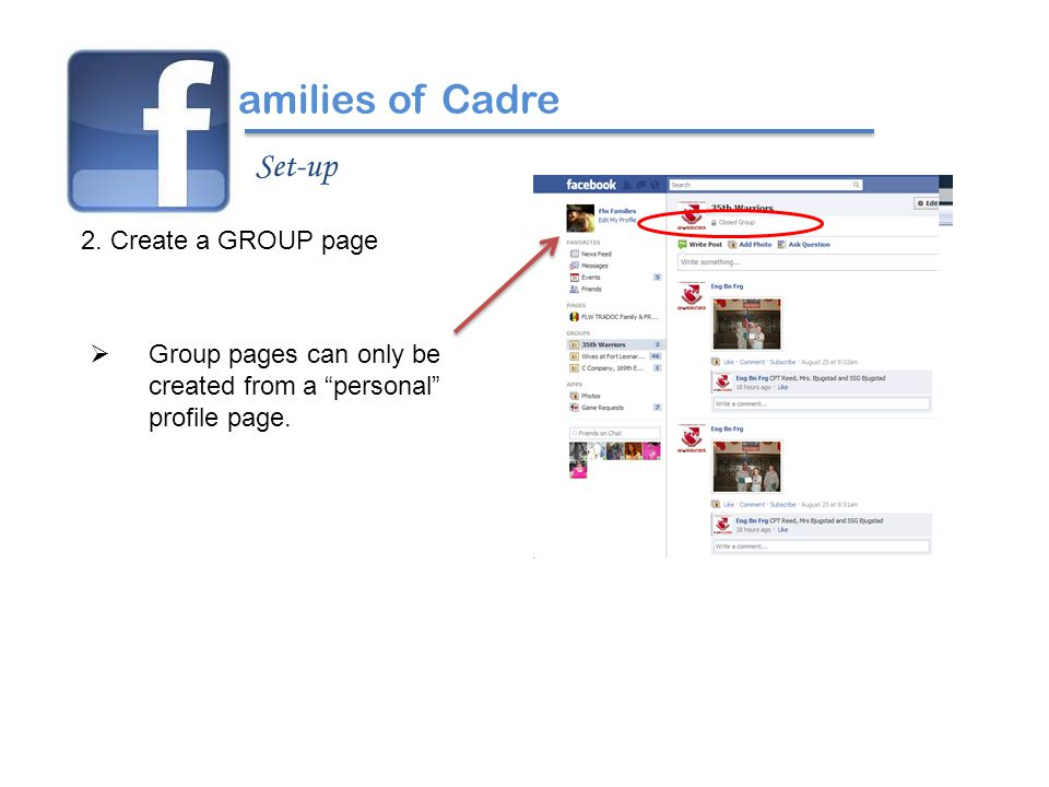 """2. Create a GROUP page amilies of Cadre Set-up  Group pages can only be created from a """"personal"""" profile page."""