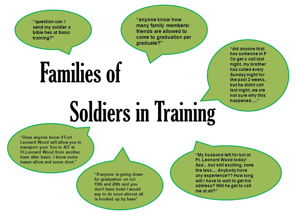 amilies of Soldiers in training Remember to use Command approved logo Set-up