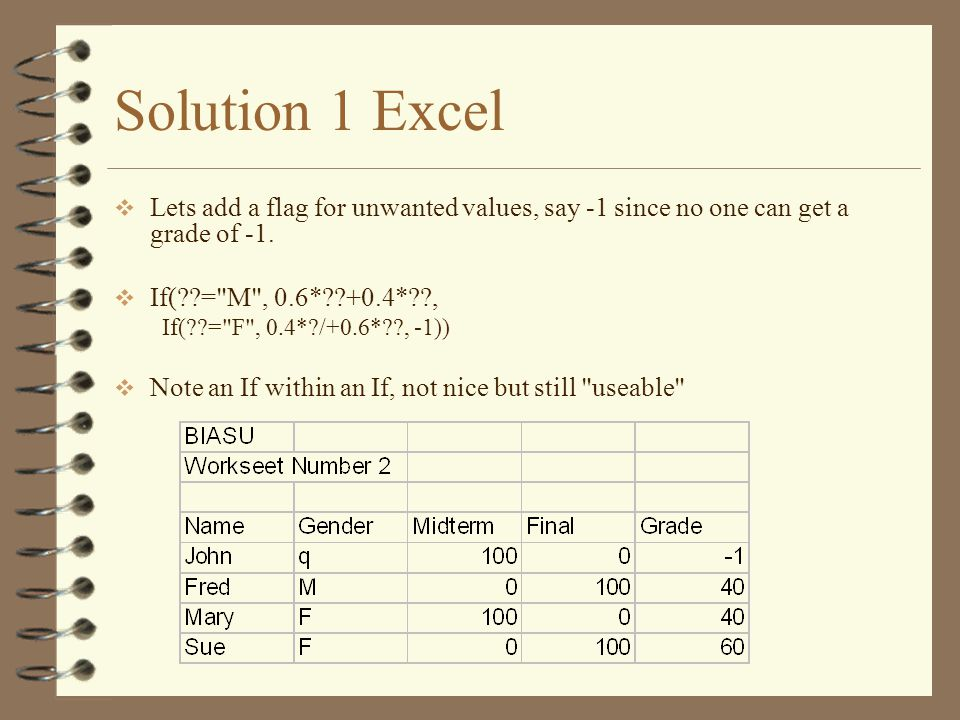 Solution 1 Excel  Lets add a flag for unwanted values, say -1 since no one can get a grade of -1.