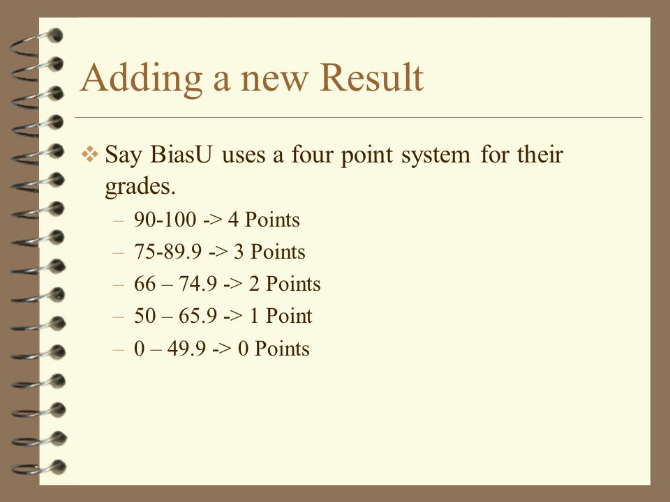 Adding a new Result  Say BiasU uses a four point system for their grades.
