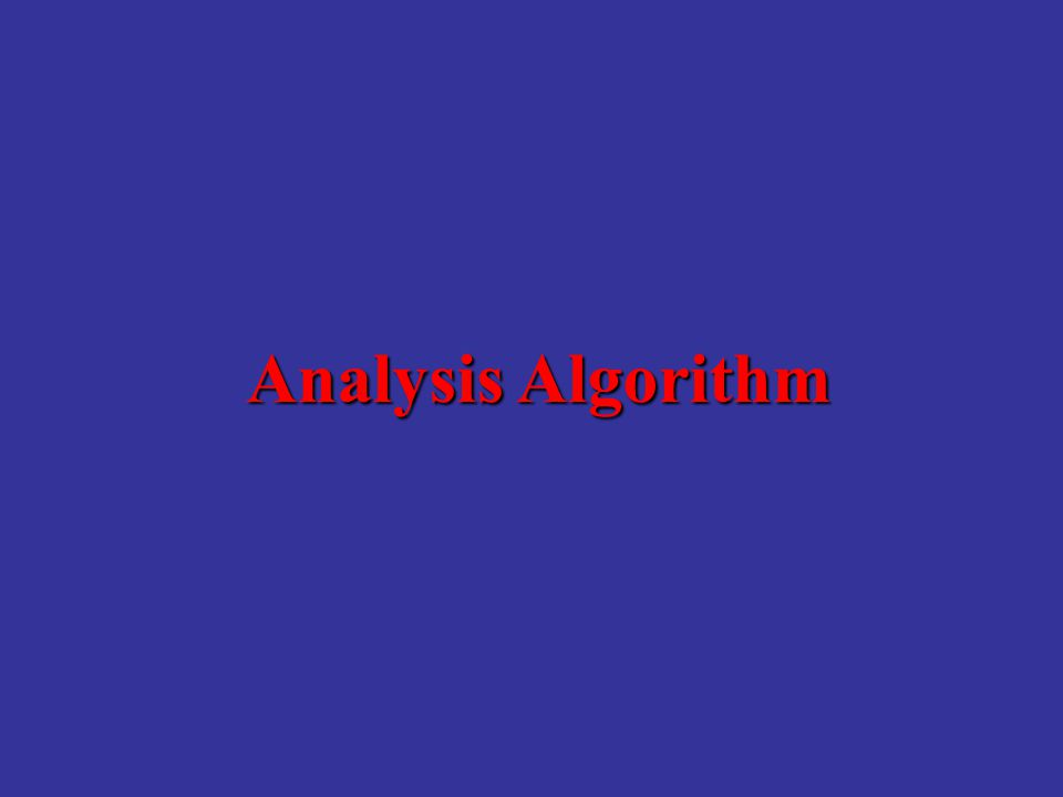 Analysis Algorithm