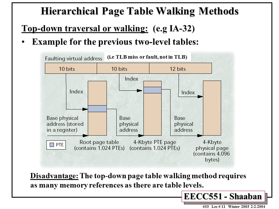EECC551 - Shaaban #33 Lec # 11 Winter 2003 2-2-2004 Hierarchical Page Table Walking Methods Top-down traversal or walking: (e.g IA-32) Example for the