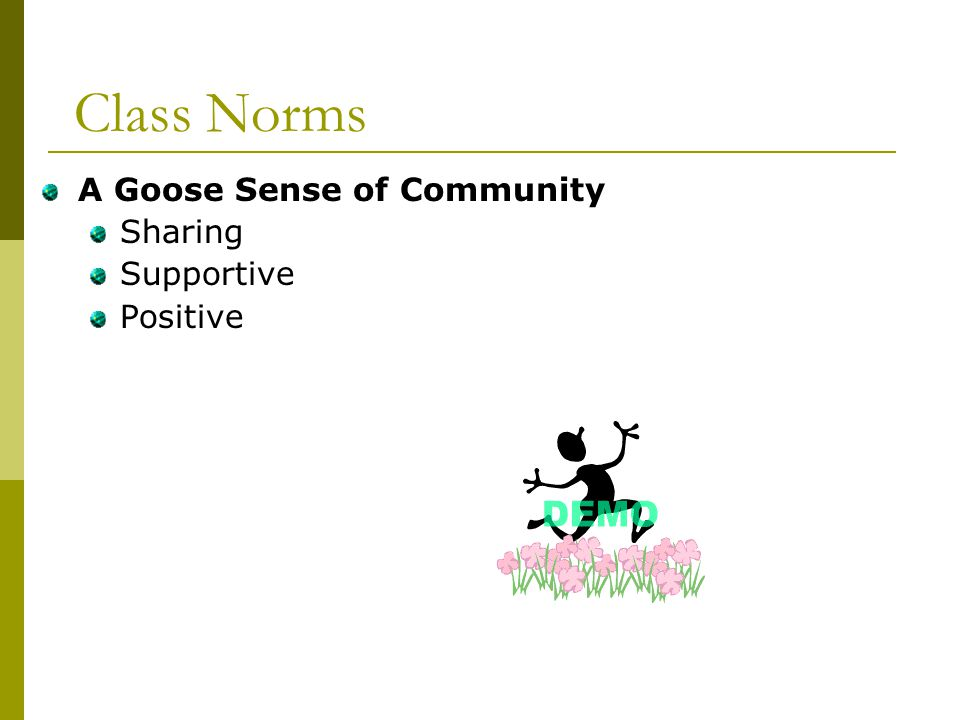 Class Norms A Goose Sense of Community Sharing Supportive Positive