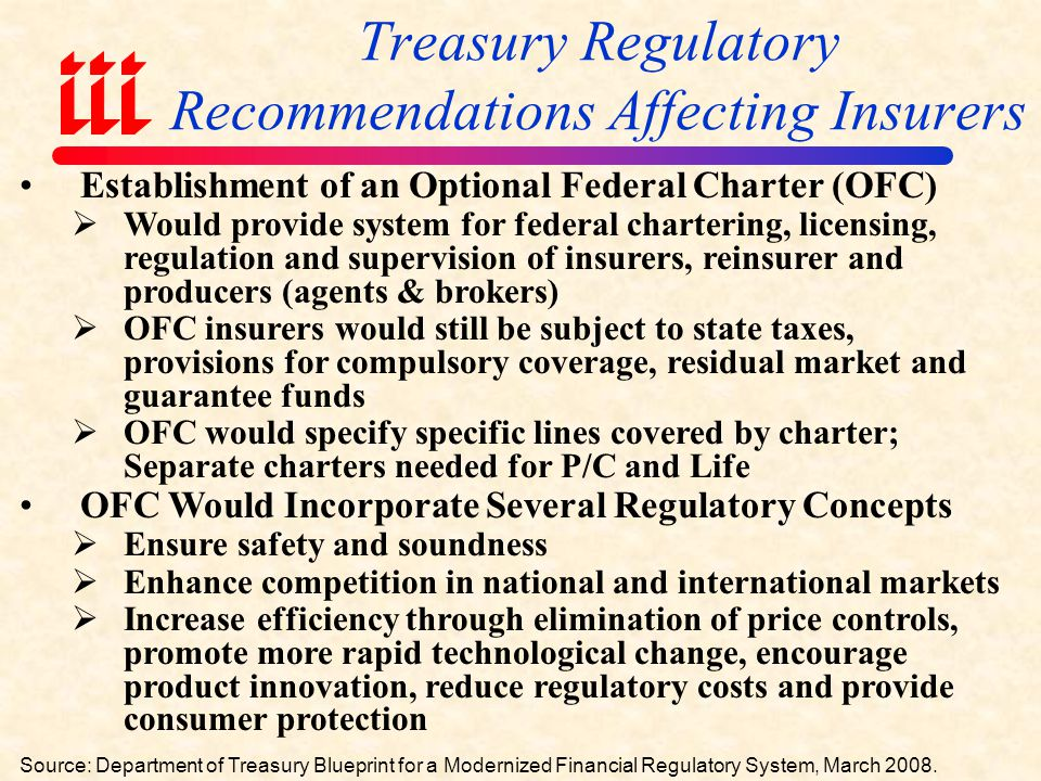 Summary of Treasury Blueprint for Financial Services Modernization Impacts on Insurers