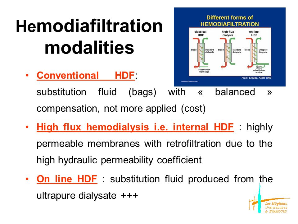 He modiafiltration modalities ConventionalHDF: : substitution fluid (bags) with « balanced » compensation, not more applied (cost) High flux hemodialysis i.e.