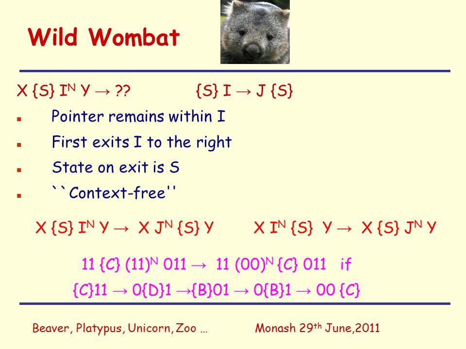 Beaver, Platypus, Unicorn, Zoo …Monash 29 th June,2011 Wild Wombat X {S} I N Y → X J N {S} YX I N {S} Y → X {S} J N Y 11 {C} (11) N 011 → 11 (00) N {C} 011 if {C}11 → 0{D}1 → {B}01 → 0{B}1 → 00 {C} X {S} I N Y → ?.