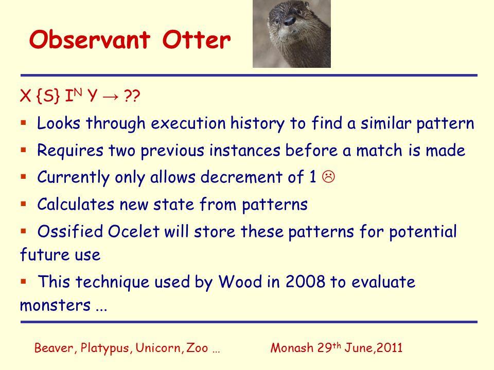 Beaver, Platypus, Unicorn, Zoo …Monash 29 th June,2011 Observant Otter X {S} I N Y → ?.