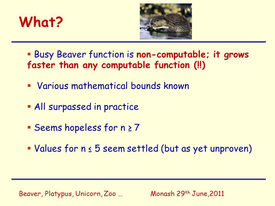 Beaver, Platypus, Unicorn, Zoo …Monash 29 th June,2011 What.