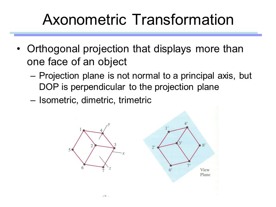 Axonometric Transformation Orthogonal projection that displays more than one face of an object –Projection plane is not normal to a principal axis, but DOP is perpendicular to the projection plane –Isometric, dimetric, trimetric