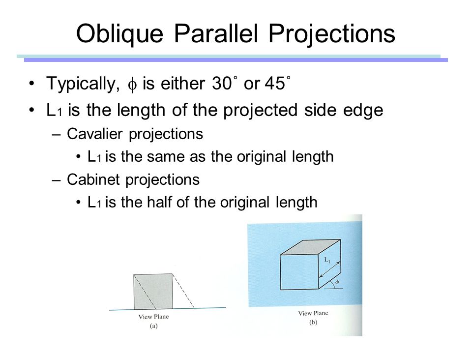 Typically,  is either 30˚ or 45˚ L 1 is the length of the projected side edge –Cavalier projections L 1 is the same as the original length –Cabinet projections L 1 is the half of the original length