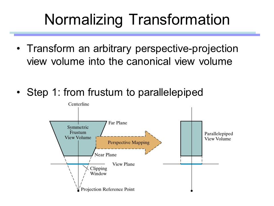 Normalizing Transformation Transform an arbitrary perspective-projection view volume into the canonical view volume Step 1: from frustum to parallelepiped