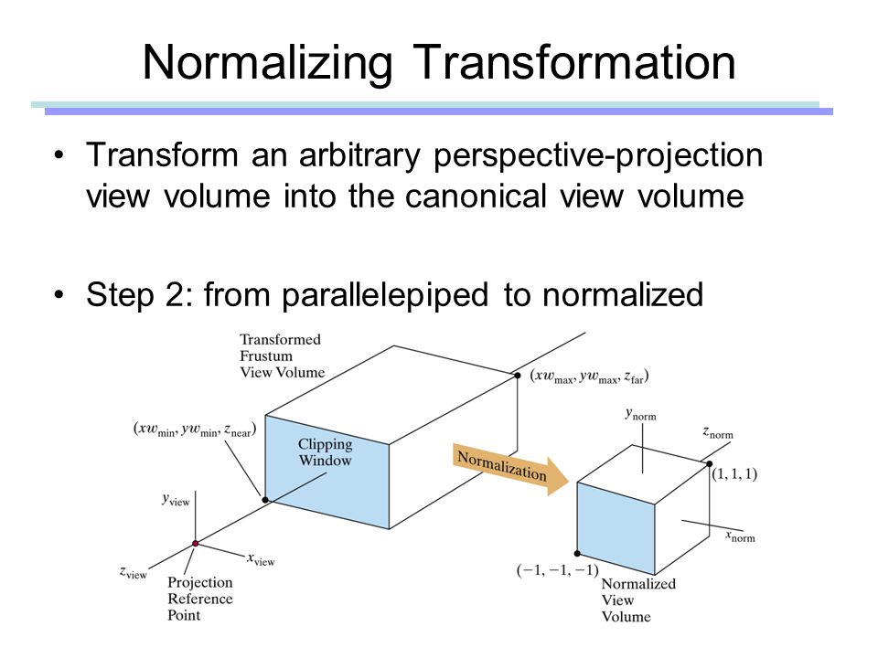 Normalizing Transformation Transform an arbitrary perspective-projection view volume into the canonical view volume Step 2: from parallelepiped to normalized