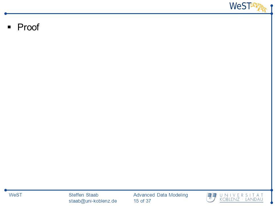 Steffen Staab staab@uni-koblenz.de Advanced Data Modeling 15 of 37 WeST  Proof