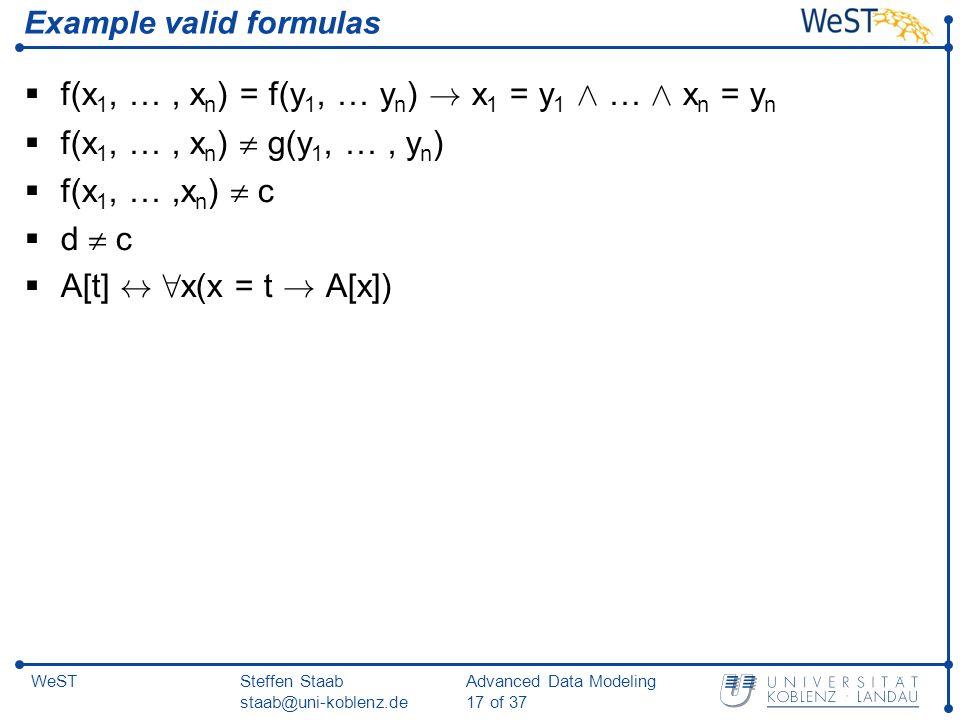 Steffen Staab staab@uni-koblenz.de Advanced Data Modeling 17 of 37 WeST Example valid formulas  f(x 1, …, x n ) = f(y 1, … y n ) .