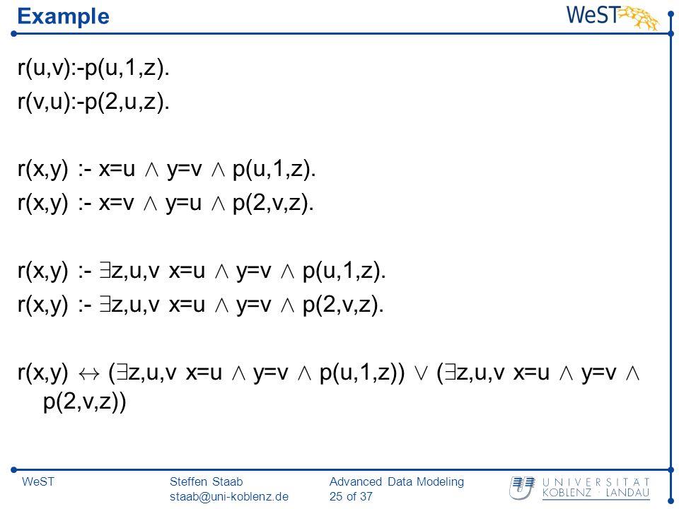 Steffen Staab staab@uni-koblenz.de Advanced Data Modeling 25 of 37 WeST Example r(u,v):-p(u,1,z).