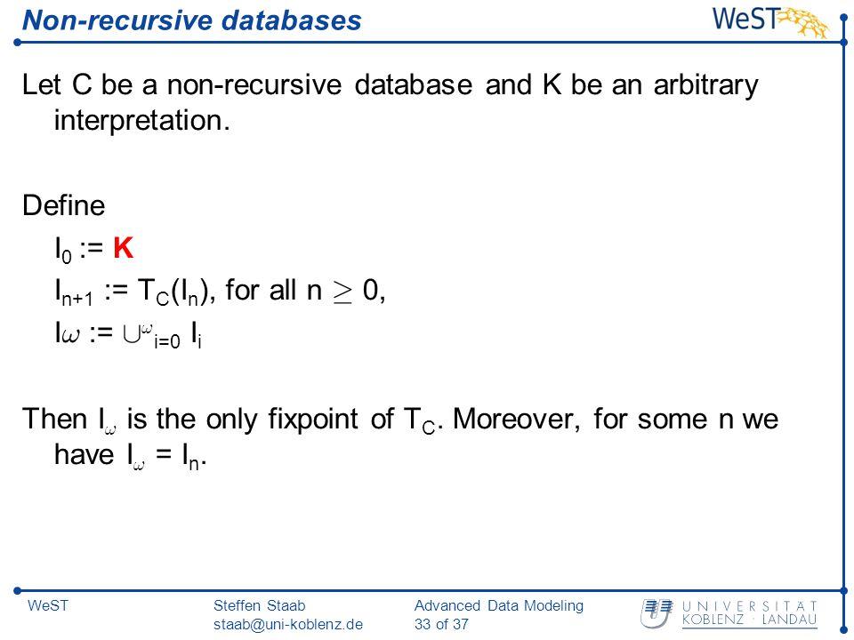 Steffen Staab staab@uni-koblenz.de Advanced Data Modeling 33 of 37 WeST Non-recursive databases Let C be a non-recursive database and K be an arbitrary interpretation.