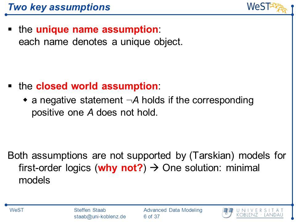 Steffen Staab staab@uni-koblenz.de Advanced Data Modeling 6 of 37 WeST Two key assumptions  the unique name assumption: each name denotes a unique object.