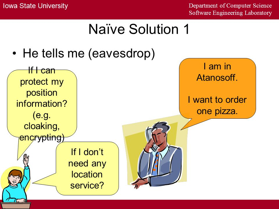 Iowa State University Department of Computer Science Software Engineering Laboratory Naïve Solution 2 Directive sender If I don t' have enough money to buy directive sensors?