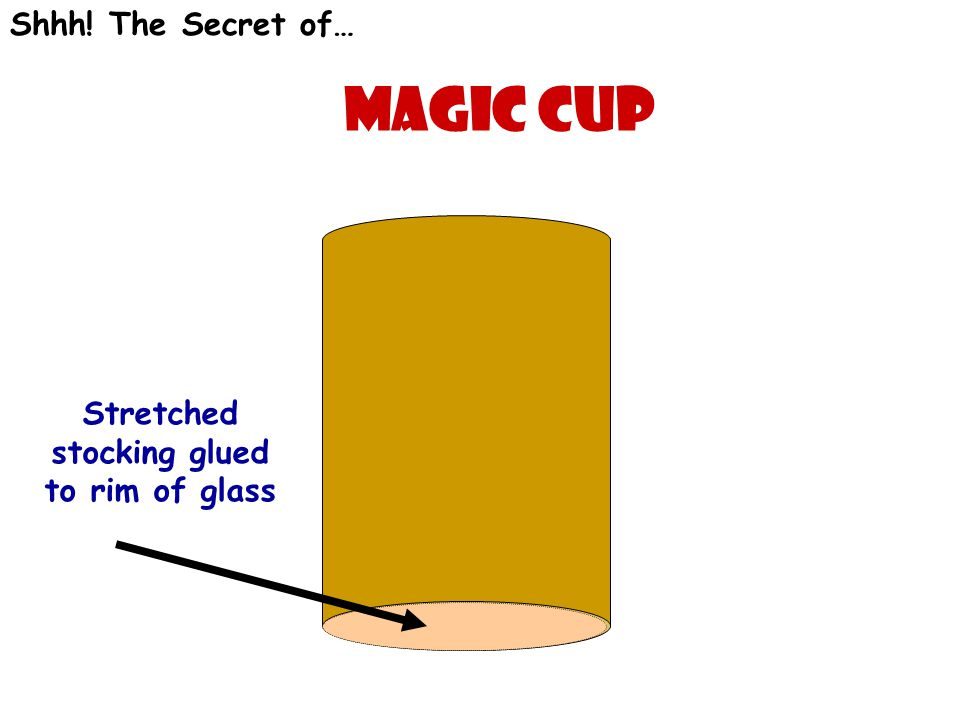 Magic cup Shhh! The Secret of… Stretched stocking glued to rim of glass