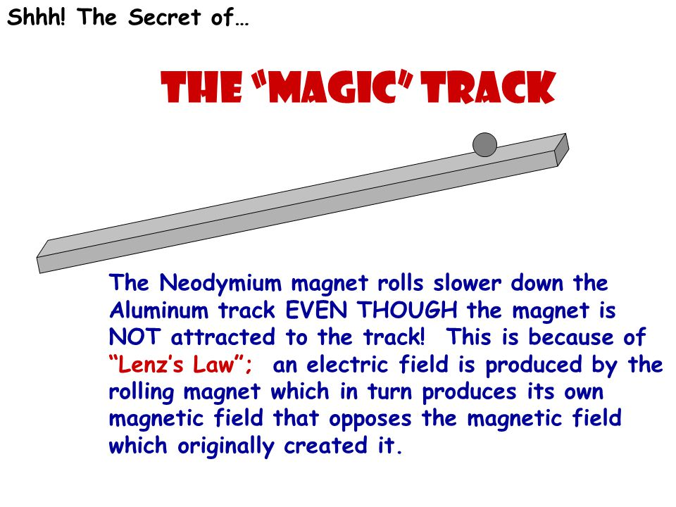 "Shhh! The Secret of… The ""Magic"" Track The Neodymium magnet rolls slower down the Aluminum track EVEN THOUGH the magnet is NOT attracted to the track!"