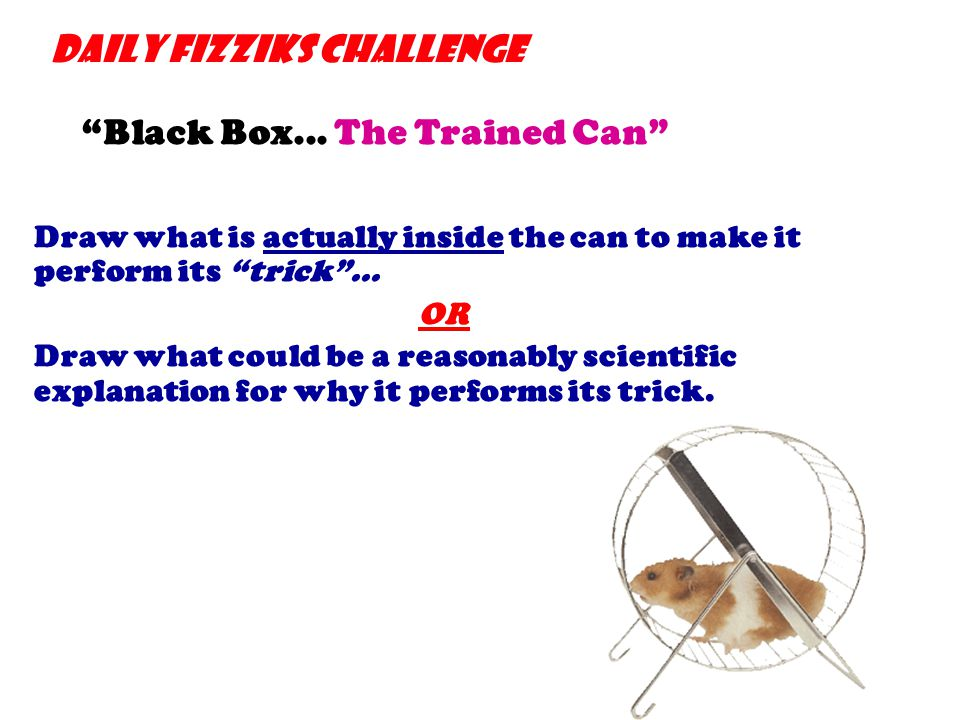 "Daily Fizziks Challenge ""Black Box... The Trained Can"" Draw what is actually inside the can to make it perform its ""trick""... OR Draw what could be a"