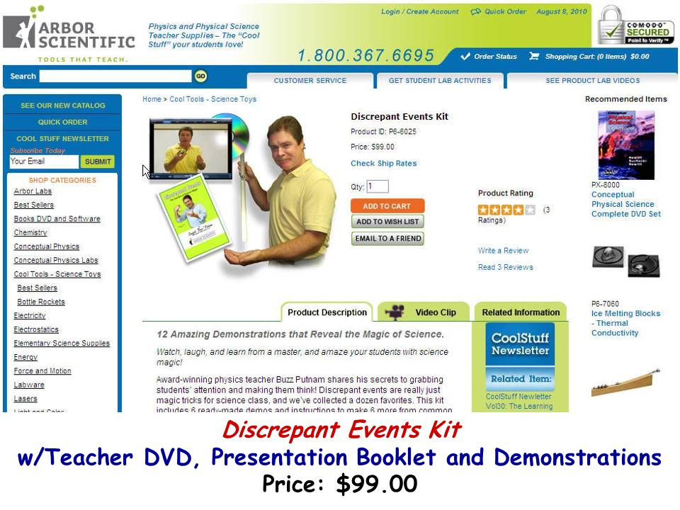 Discrepant Events Kit w/Teacher DVD, Presentation Booklet and Demonstrations Price: $99.00