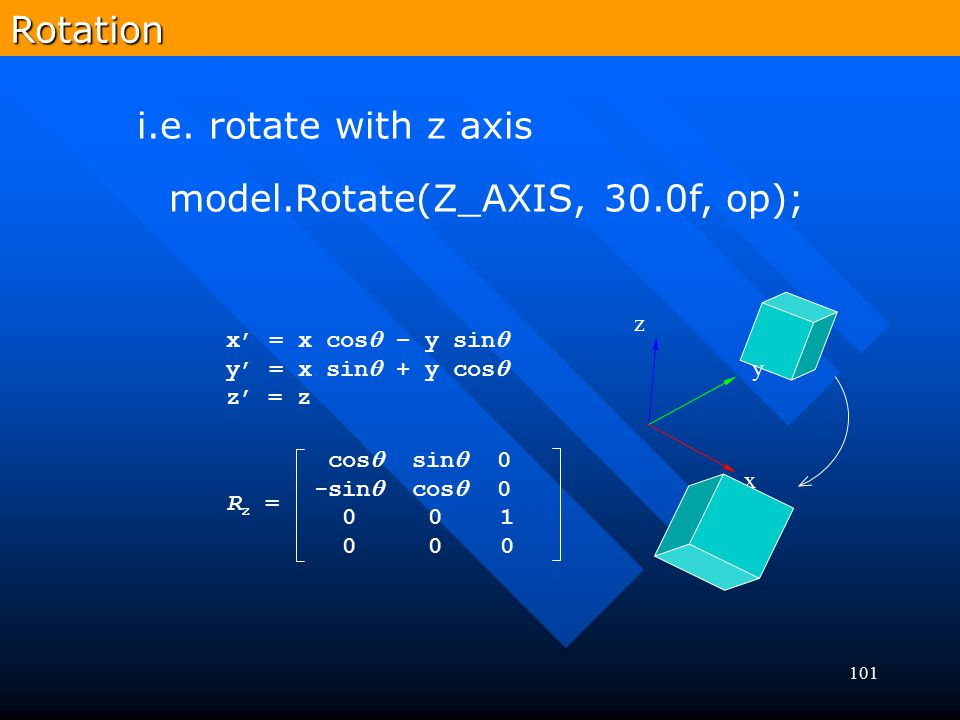 101Rotation model.Rotate(Z_AXIS, 30.0f, op); i.e. rotate with z axis x' = x cos  – y sin  y' = x sin  + y cos  z' = z Rz =Rz = cos  sin  0 -sin