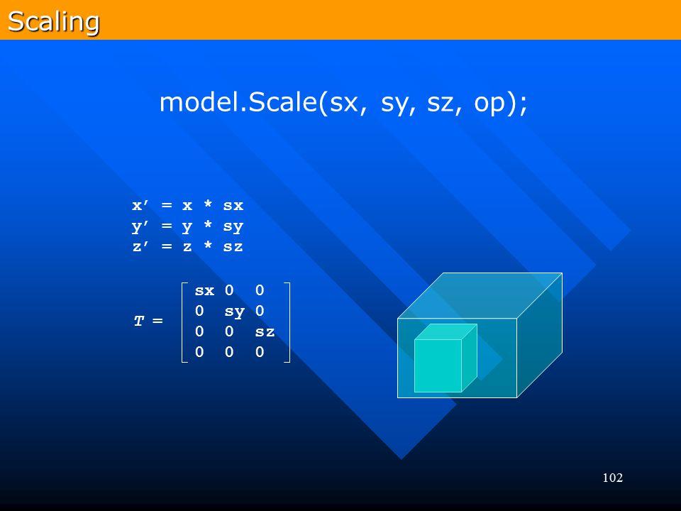 102Scaling model.Scale(sx, sy, sz, op); x' = x * sx y' = y * sy z' = z * sz T = sx 0 0 0 sy 0 0 0 sz 0 0 0