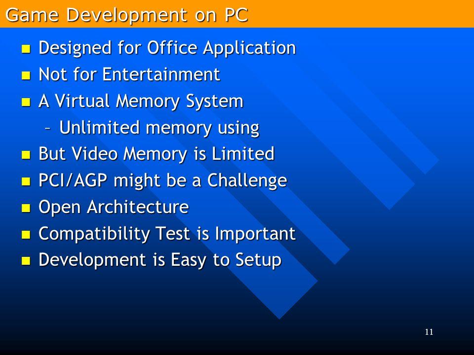 11 Designed for Office Application Designed for Office Application Not for Entertainment Not for Entertainment A Virtual Memory System A Virtual Memor