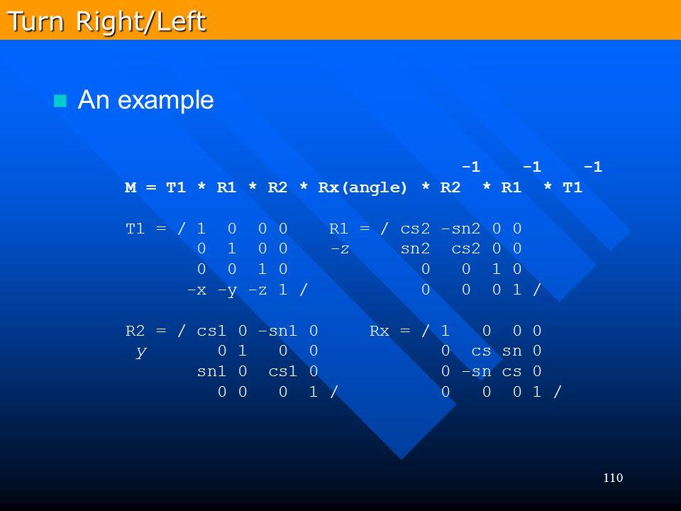 110 -1 -1 -1 M = T1 * R1 * R2 * Rx(angle) * R2 * R1 * T1 T1 = / 1 0 0 0 R1 = / cs2 -sn2 0 0 0 1 0 0 -z sn2 cs2 0 0 0 0 1 0 0 0 1 0 -x -y -z 1 / 0 0 0