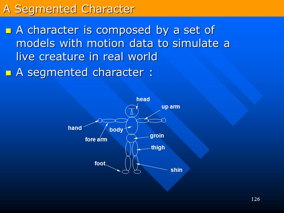 126 A character is composed by a set of models with motion data to simulate a live creature in real world A character is composed by a set of models w