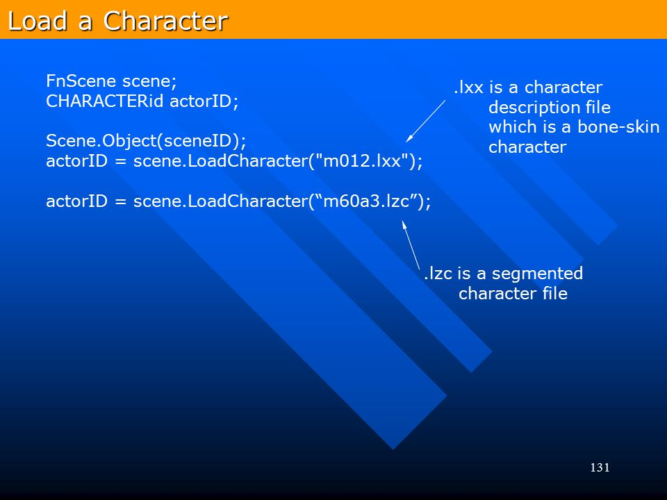 131 Load a Character FnScene scene; CHARACTERid actorID; Scene.Object(sceneID); actorID = scene.LoadCharacter(