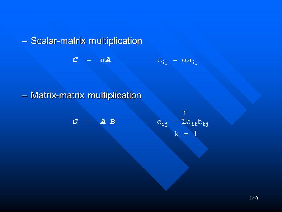 140 –Scalar-matrix multiplication –Matrix-matrix multiplication C =  A c ij =  a ij C = A B c ij =  a ik b kj k = 1 r