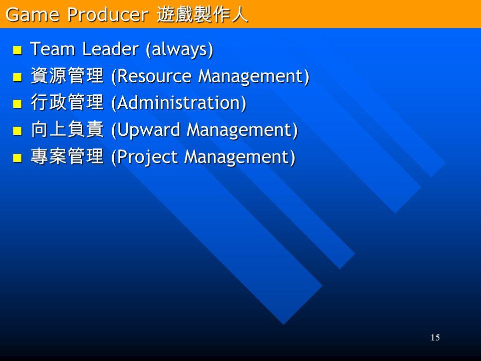 15 Team Leader (always) Team Leader (always) 資源管理 (Resource Management) 資源管理 (Resource Management) 行政管理 (Administration) 行政管理 (Administration) 向上負責 (U