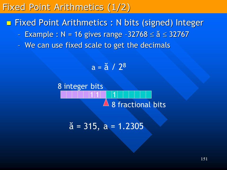 151 Fixed Point Arithmetics : N bits (signed) Integer Fixed Point Arithmetics : N bits (signed) Integer –Example : N = 16 gives range –32768  ă  327