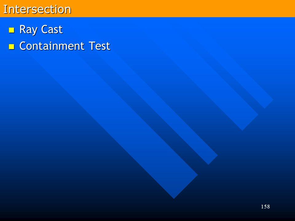 158 Ray Cast Ray Cast Containment Test Containment TestIntersection