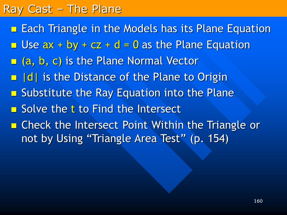 160 Ray Cast – The Plane Each Triangle in the Models has its Plane Equation Each Triangle in the Models has its Plane Equation Use ax + by + cz + d =