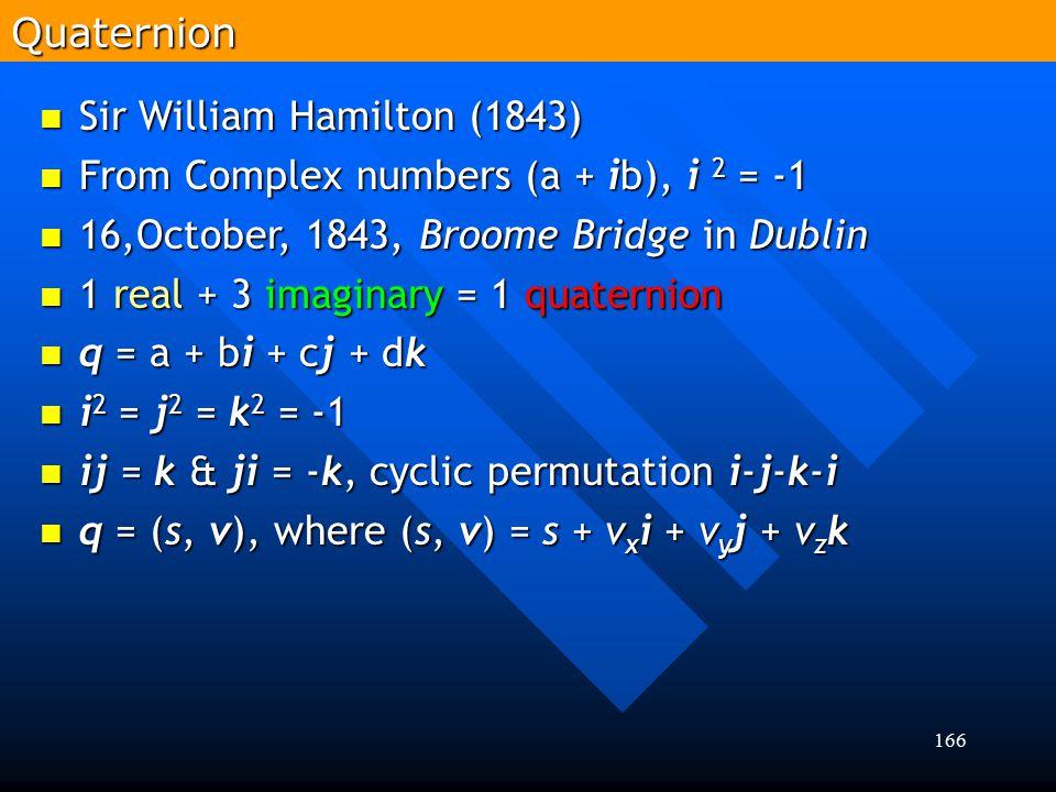 166 Sir William Hamilton (1843) Sir William Hamilton (1843) From Complex numbers (a + ib), i 2 = -1 From Complex numbers (a + ib), i 2 = -1 16,October