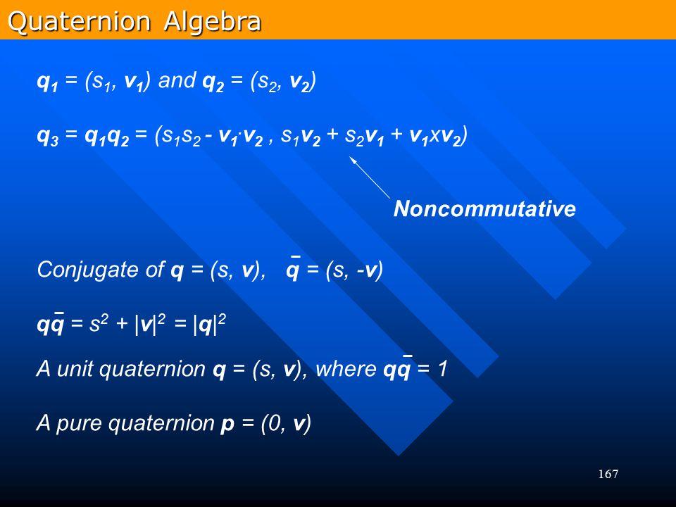 167 q 1 = (s 1, v 1 ) and q 2 = (s 2, v 2 ) q 3 = q 1 q 2 = (s 1 s 2 - v 1. v 2, s 1 v 2 + s 2 v 1 + v 1 xv 2 ) Conjugate of q = (s, v), q = (s, -v) q