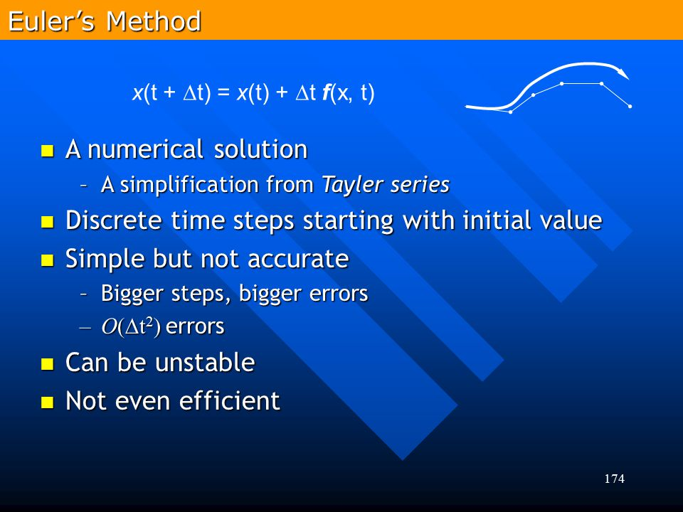 174 A numerical solution A numerical solution –A simplification from Tayler series Discrete time steps starting with initial value Discrete time steps